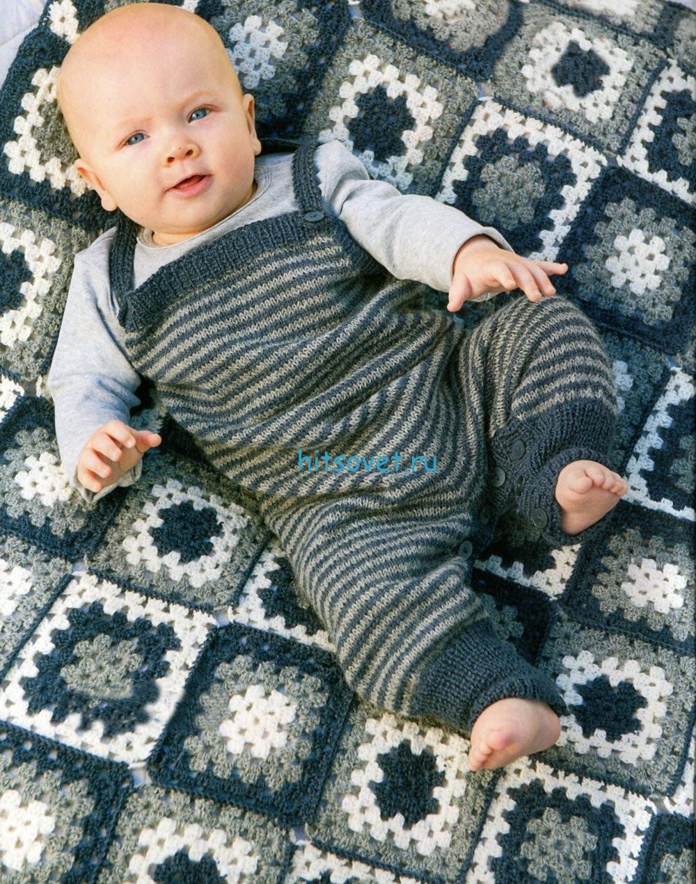 Вязание комбинезона и пледа для новорожденных