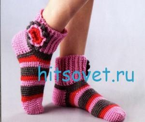 Вязание носков в полоску