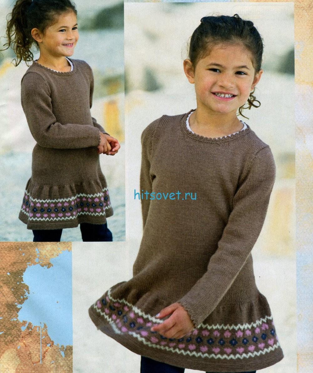 Вязаное платье для девочки схема