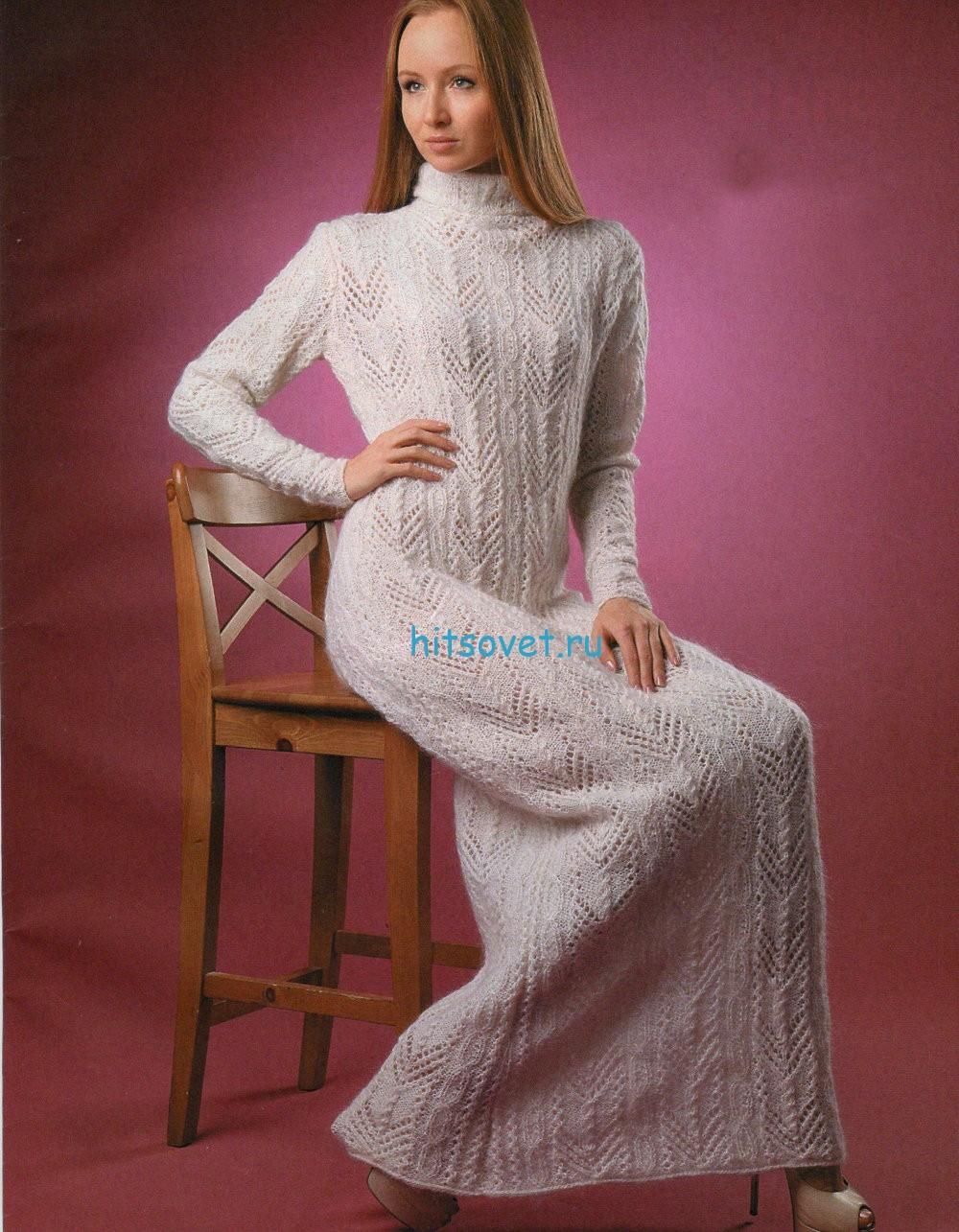 Длинное белое платье спицами