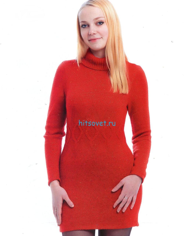 Вязаное мини платье красного цвета