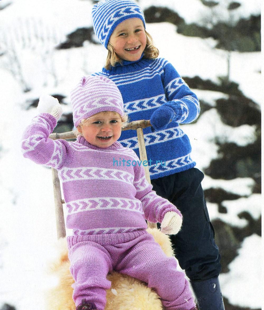 Вязание пуловера, шапки и штанишек для детей