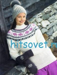 Вязаный пуловер, шапка и варежки спицами