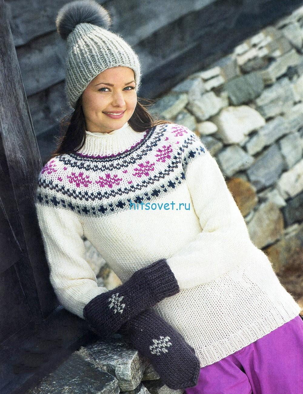 Вязание пуловера, шапки и варежек