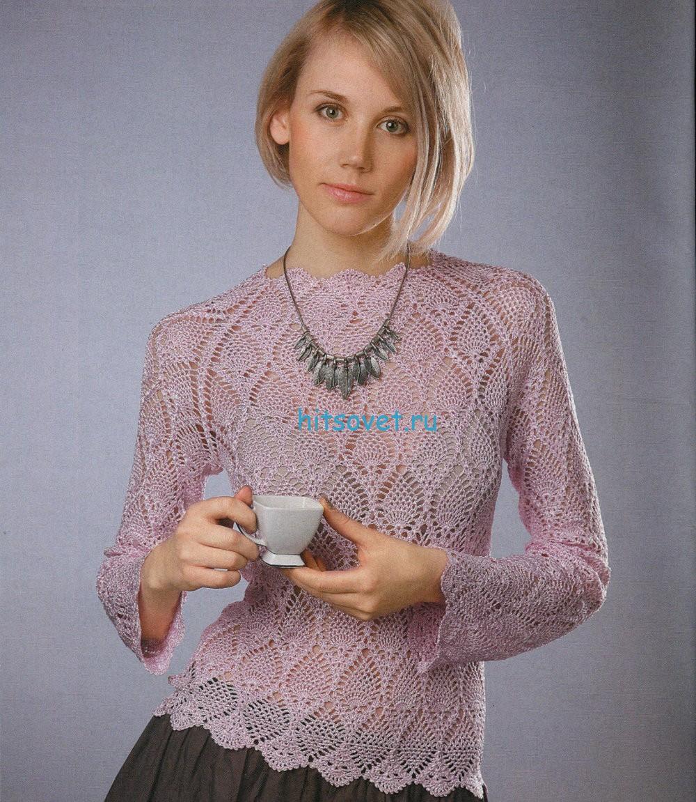 "Вязаный пуловер с узором ""ананас"""