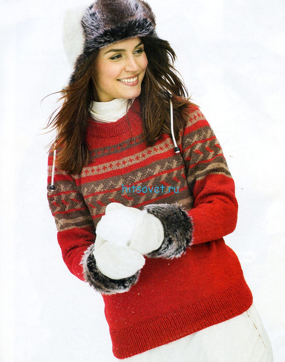 Красный пуловер спицами схема