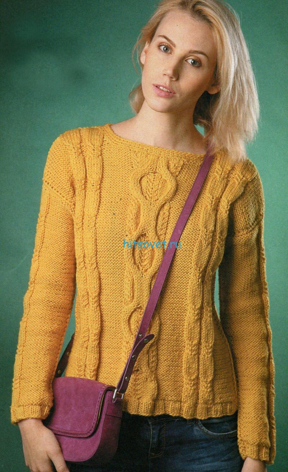 Вязание пуловера с рельефным узором