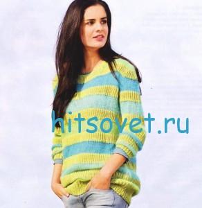Женский полосатый пуловер из пряжи Cotton DK