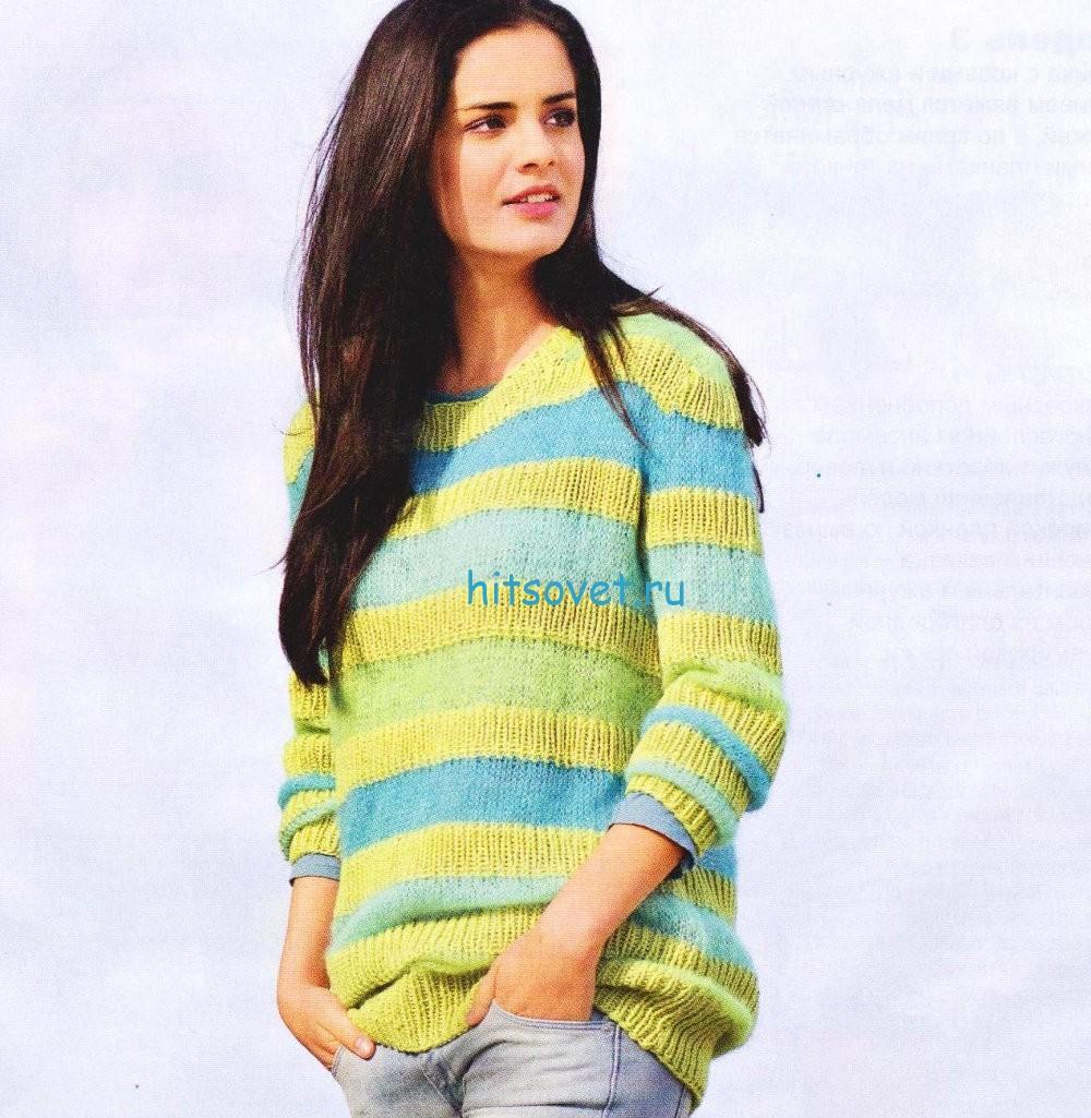 Женский полосатый пуловер из хлопка
