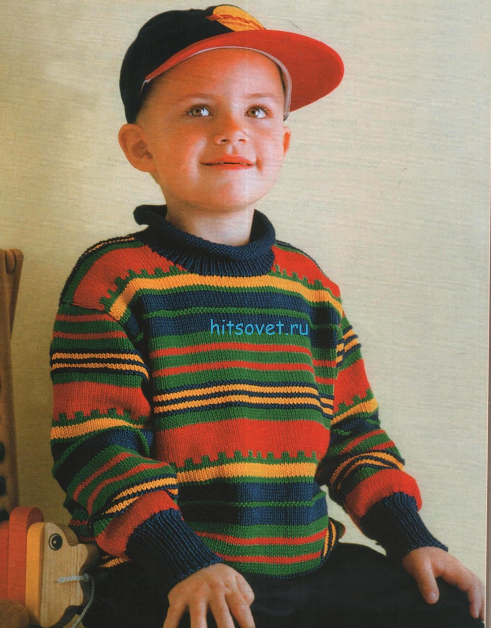Вязание для мальчиков полосатого пуловера спицами