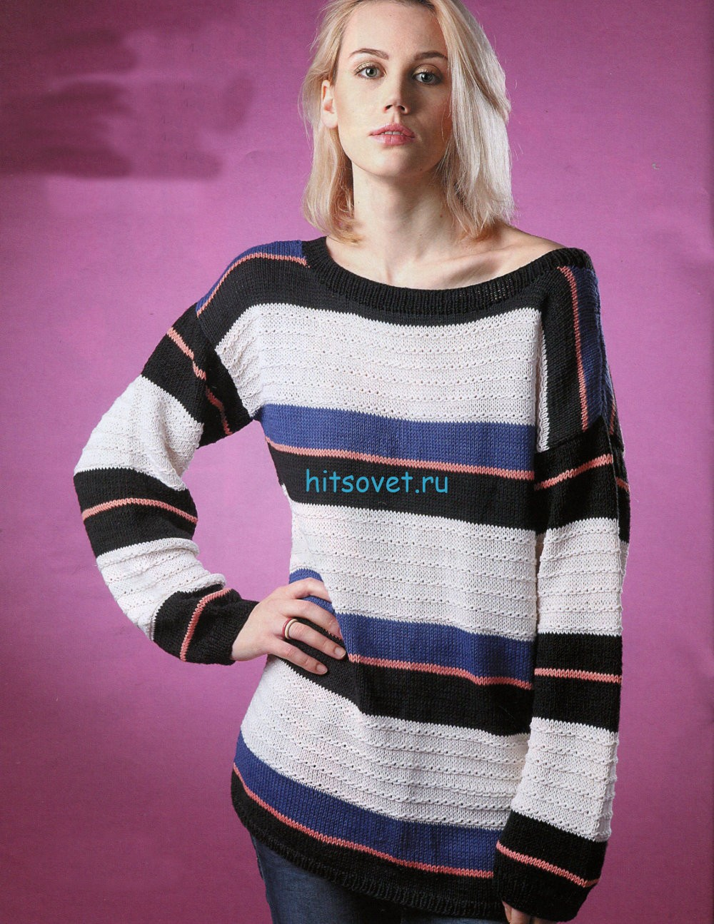 Вязание пуловера в полоску для женщин