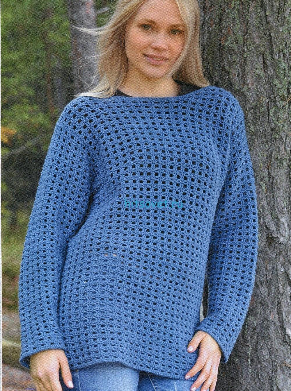Вязание крючком пуловера описание