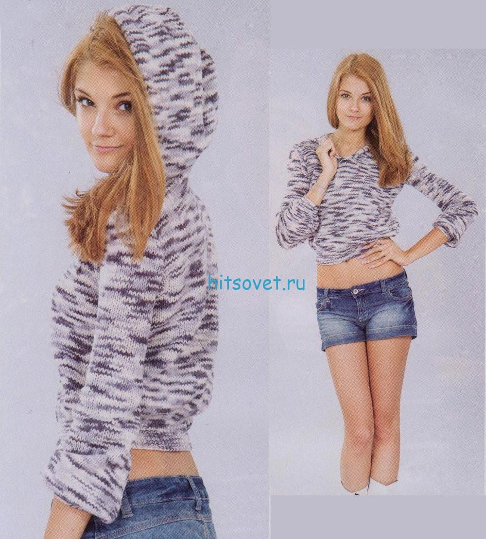 Меланжевый пуловер с капюшоном