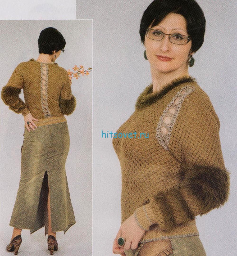 Вязаный пуловер с ажурной отделкой