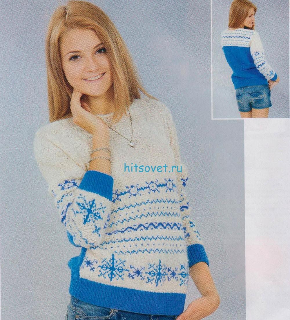 Бело-голубой пуловер спицами