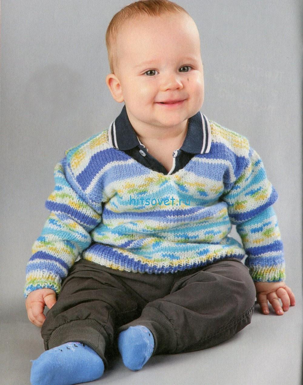 Вязание для малышей пуловера из секционки