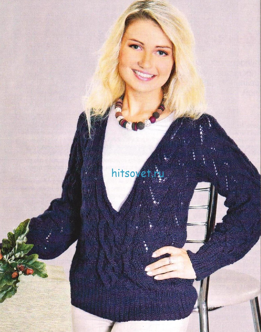 Вязание пуловера с аранами