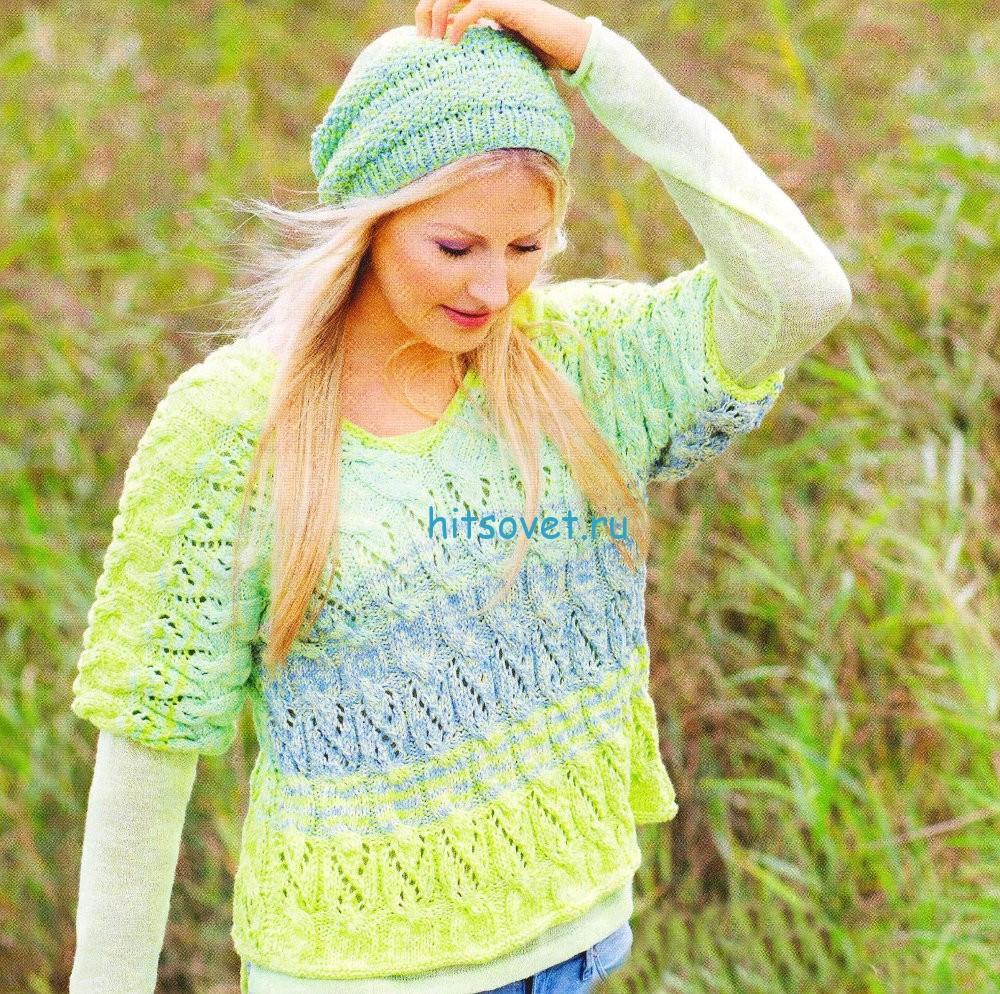 Пуловер с короткими рукавами и шапочка, фото.