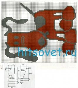 Схема вязания пуловера с собачкой