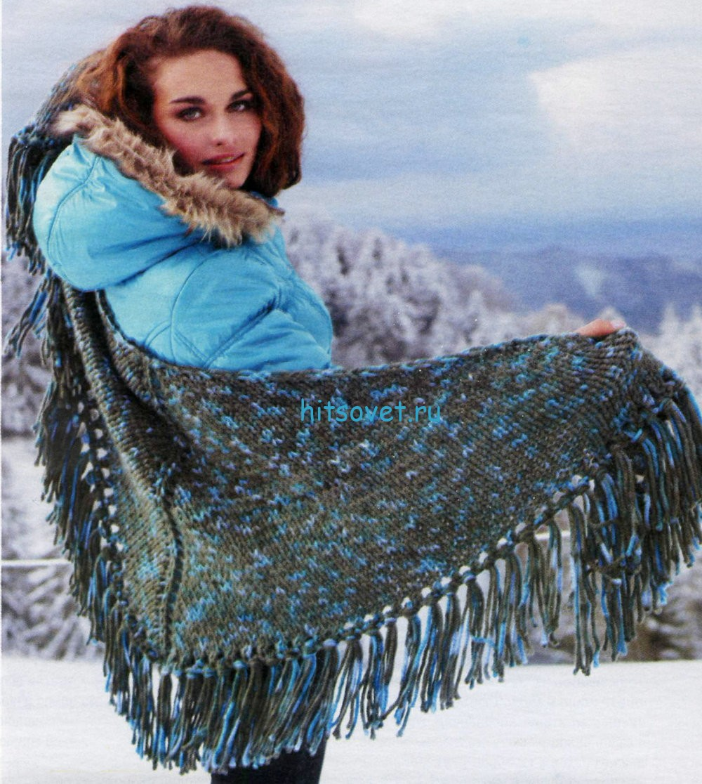 Вязание шали с кистями, фото 1.