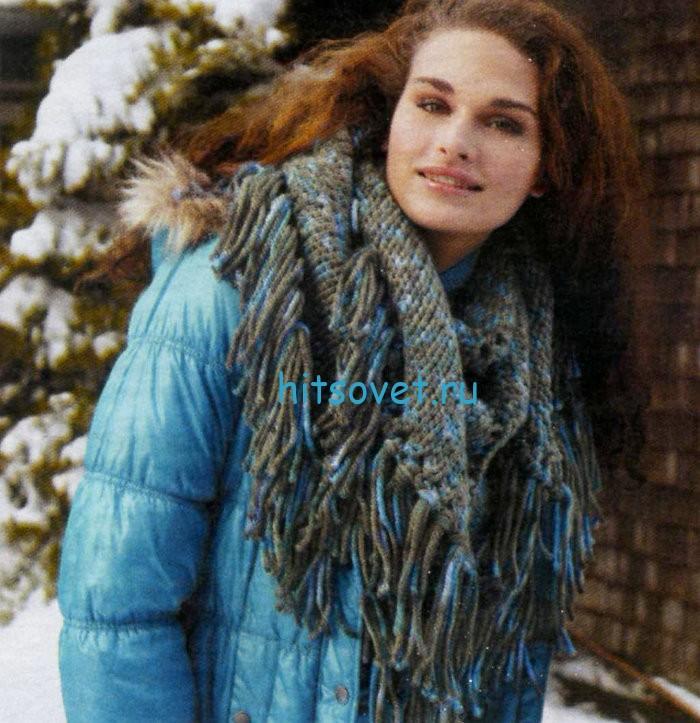 Вязание шали с кистями. фото 2.
