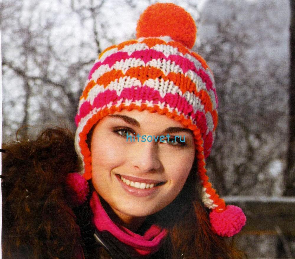 Вязание шапки ушанки, фото.