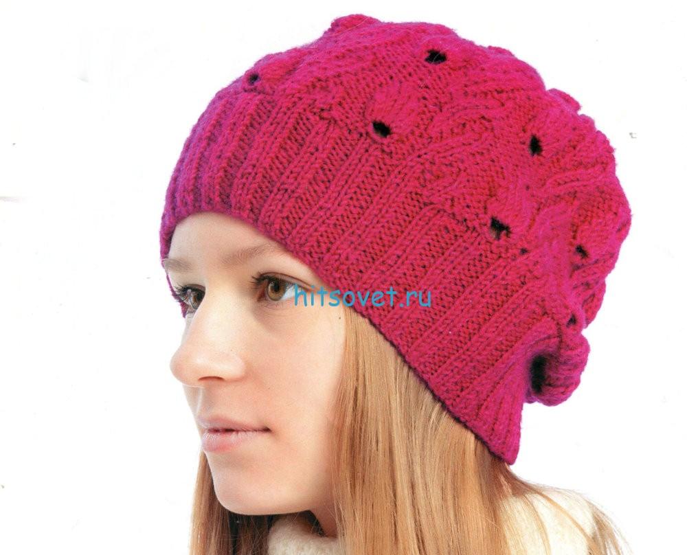 Вязание красивой шапки спицами, фото.