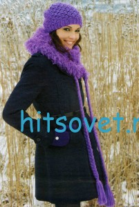 Вязаная шапочка и шаль с косами