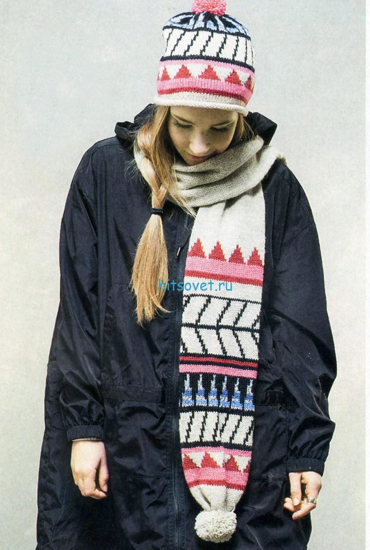 Вязание шапки и шарфа с помпонами, фото.
