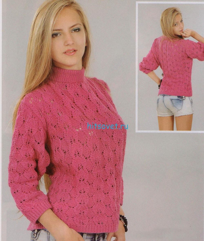 Розовый свитер спицами