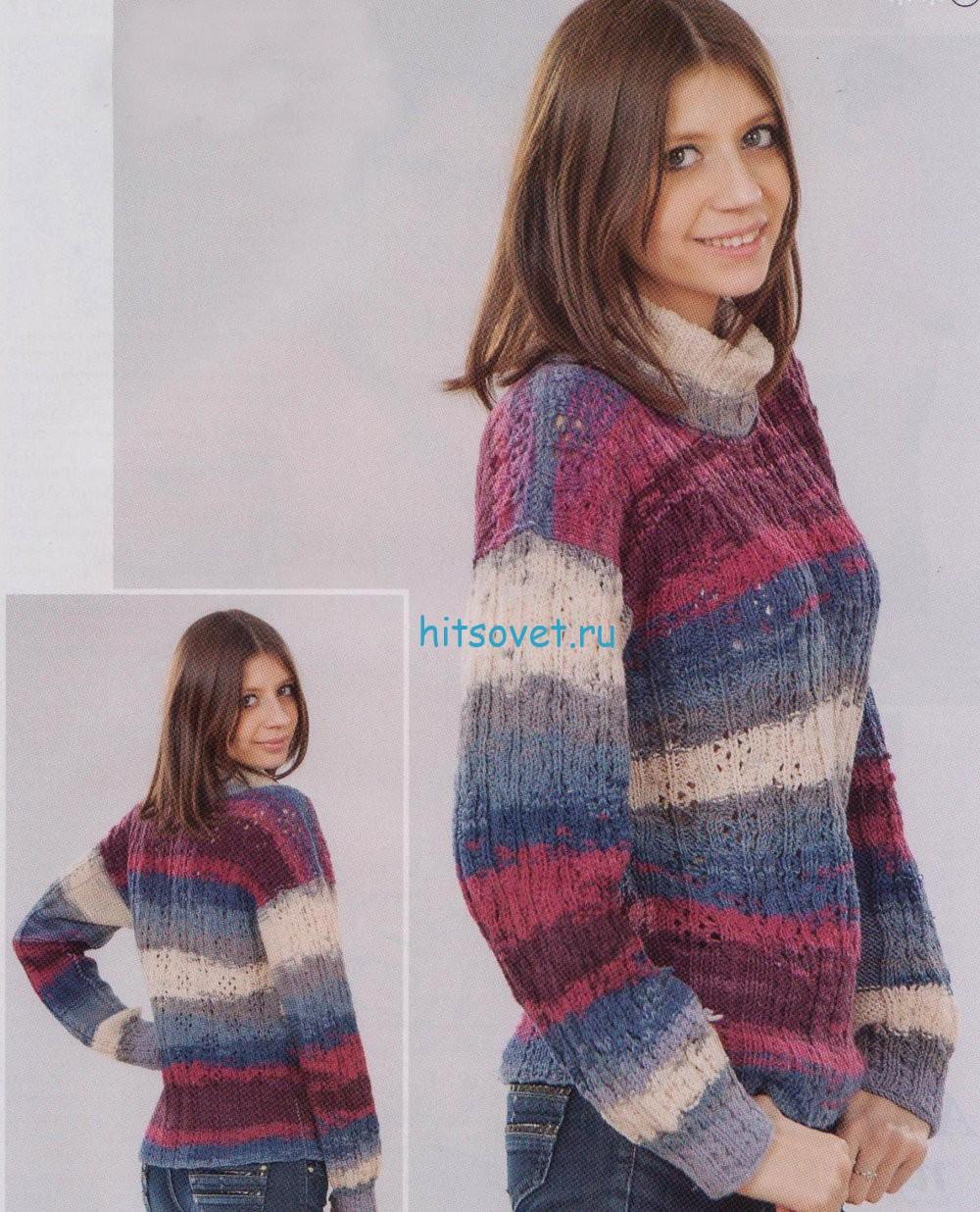 Ажурный свитер спицами, фото.