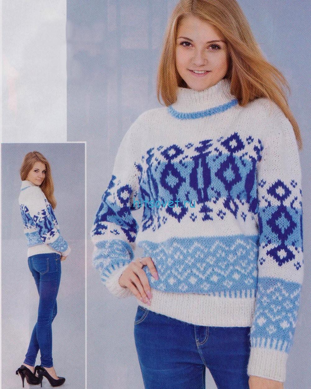 Вязаный свитер с жаккардом в голубых тонах