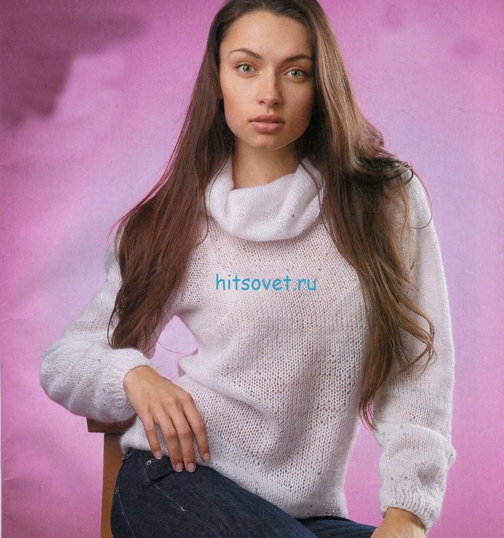 Белый свитер с пайетками, фото.