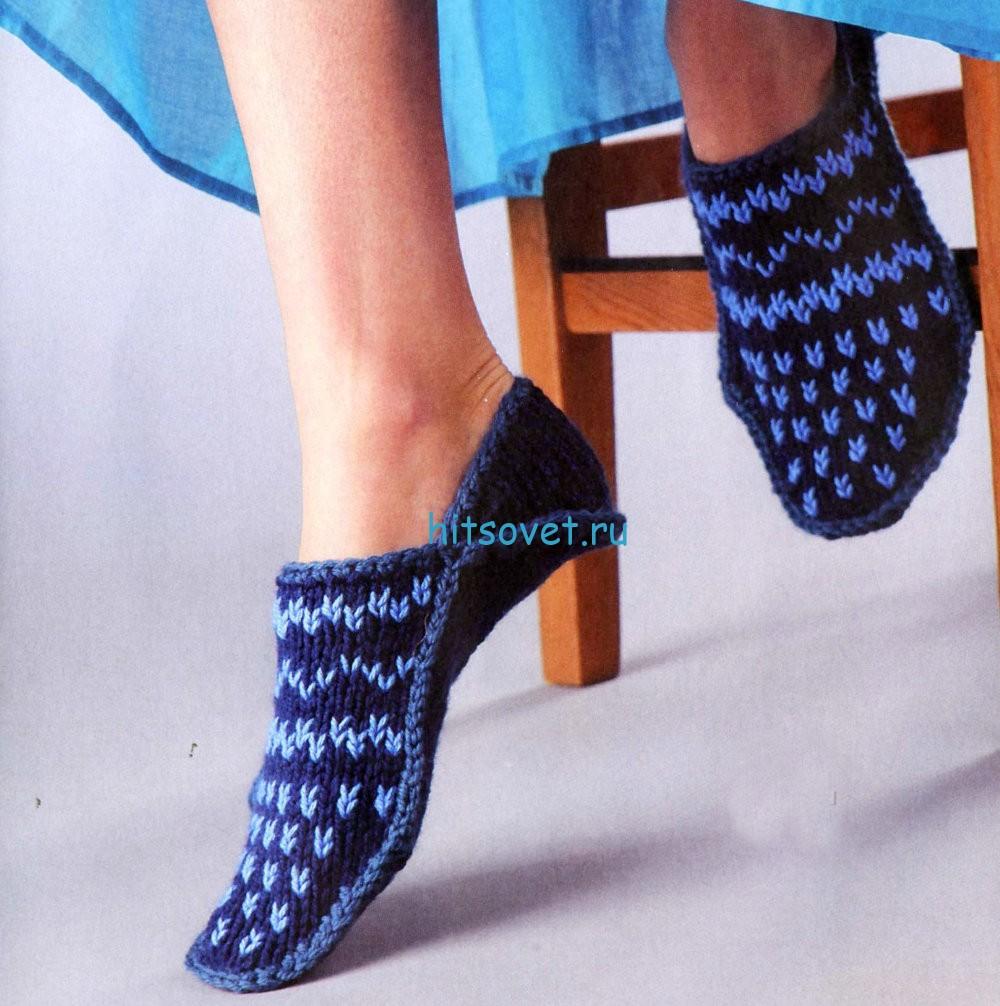 Вязание тапочек с вышивкой