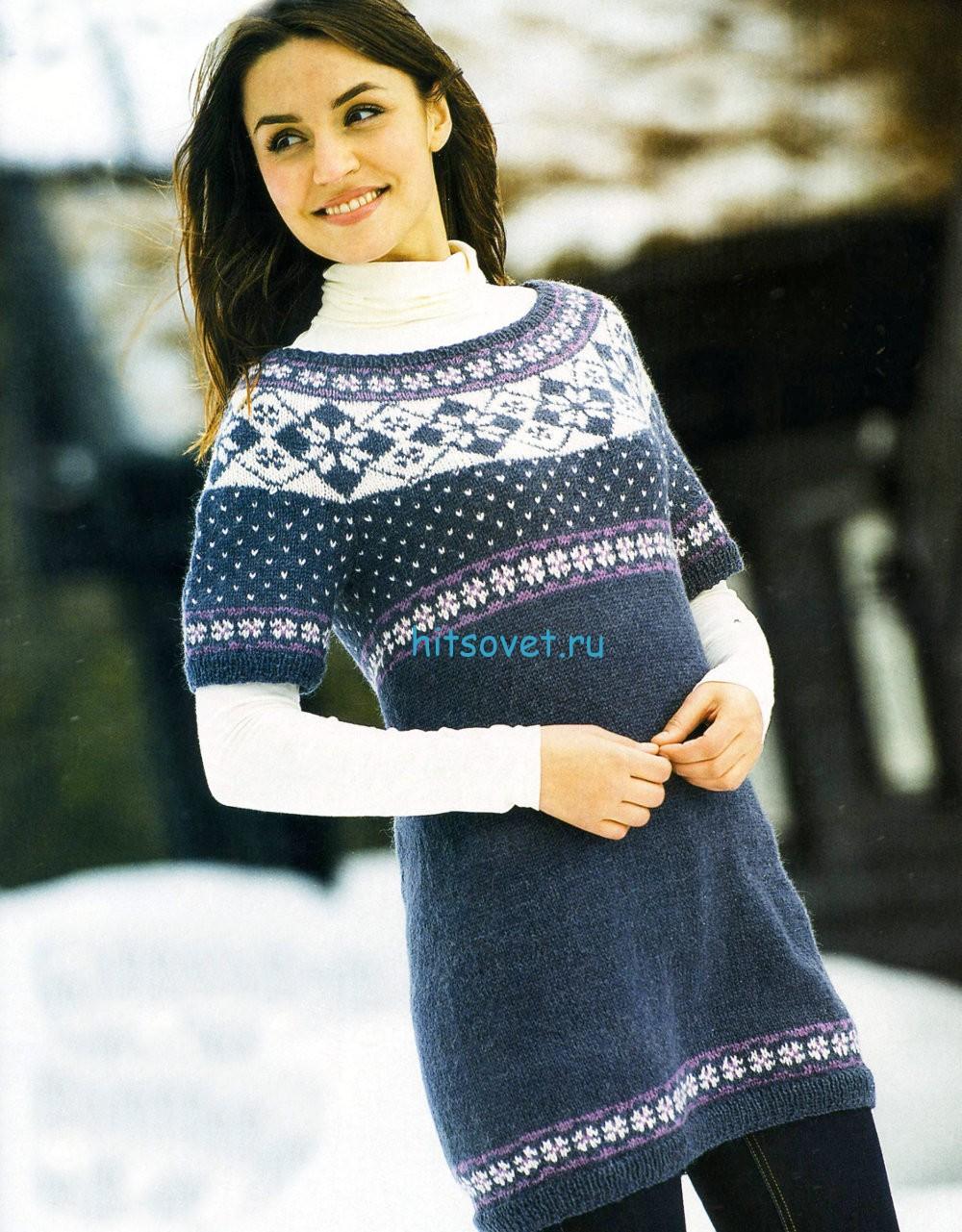 Вязание туники с цветной кокеткой, фото.