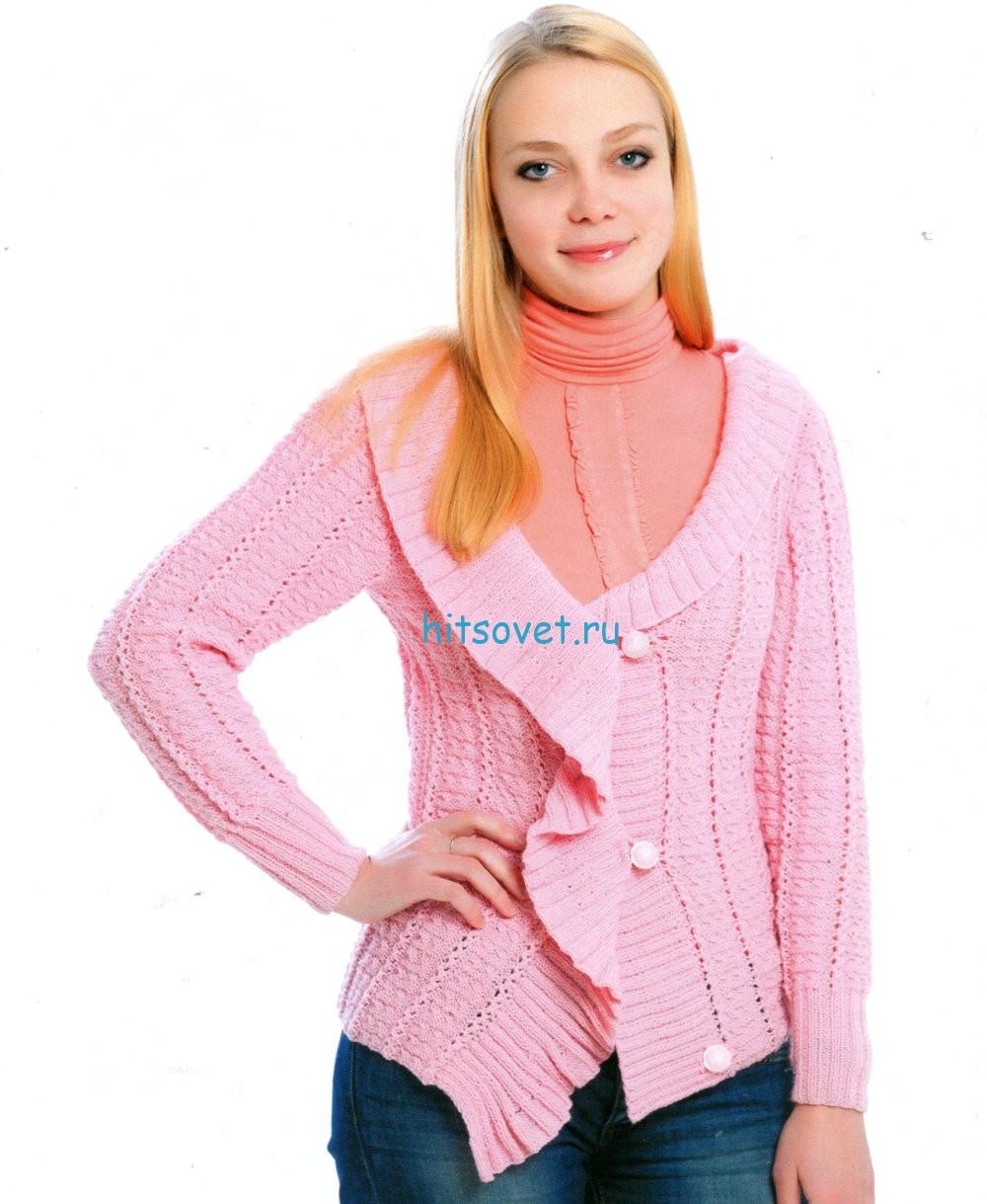 Жакет на одной пуговице. Вязание для женщин / Жакеты