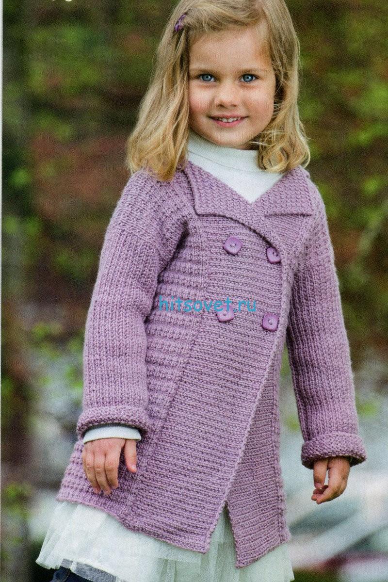 Вязание - Розовый двубортный жакет спицами - Детские жакеты, кофточки, болеро спицами. Вязание - Для детей