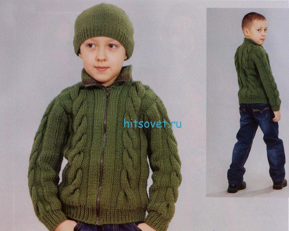 Вязание для мальчиков жакета и шапочки