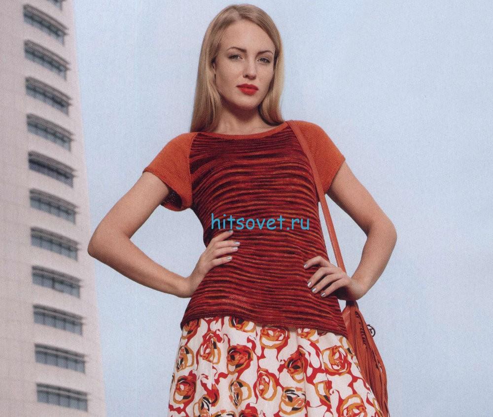 Вязание модного джемпера с короткими рукавами