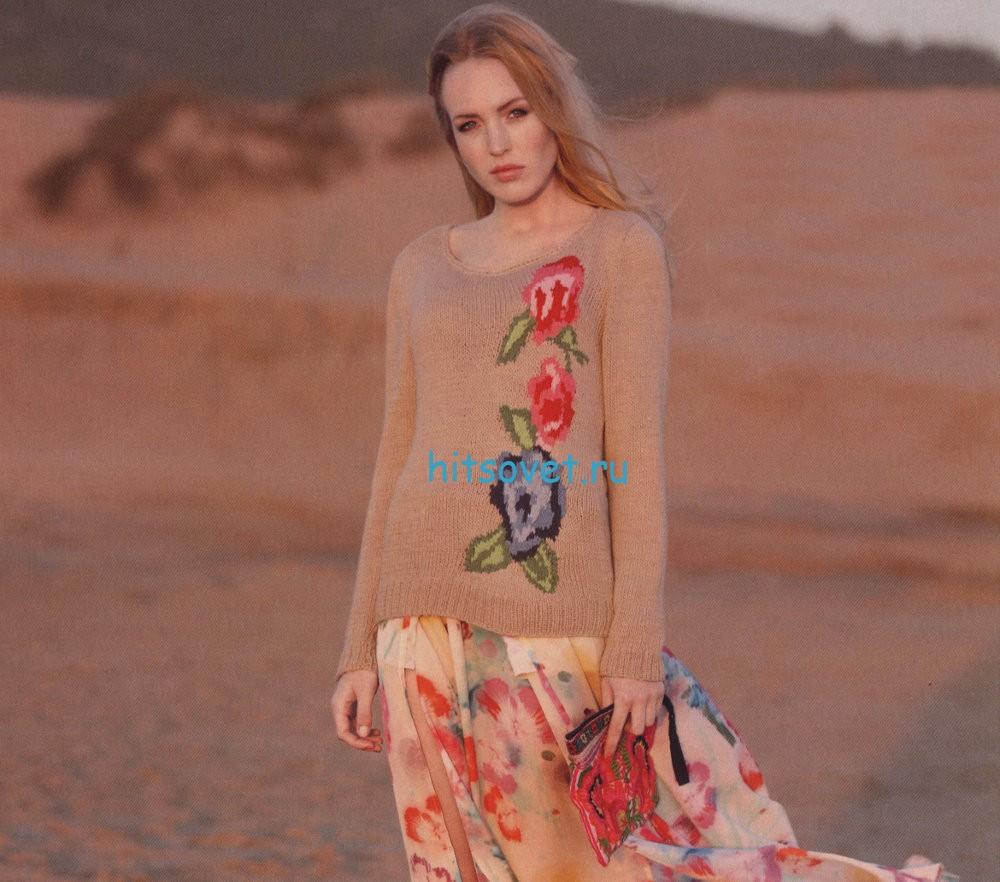 Вязание джемпера с цветами