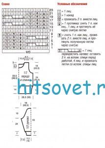 Схема вязания ажурного джемпера с косами