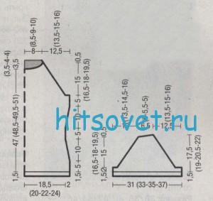 Схема вязания джемпера с короткими рукавами