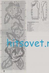 Вязание джемпера с цветами, схема.