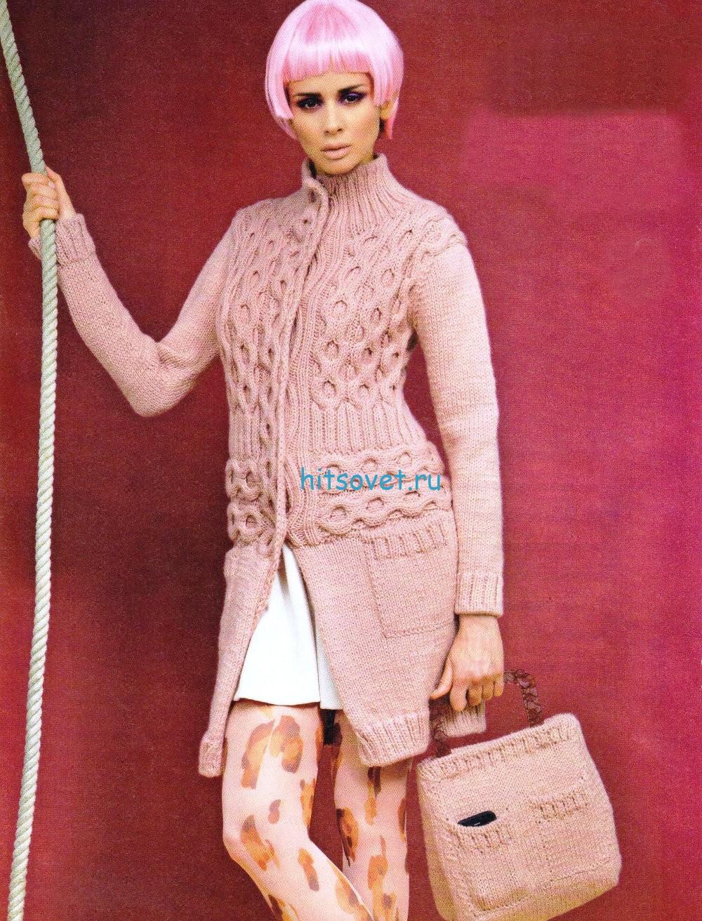 Вязание кардигана и сумки спицами
