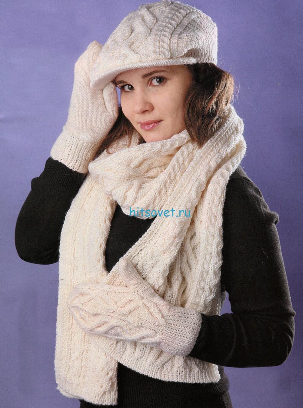 Вязание кепи, шарфа и варежек спицами