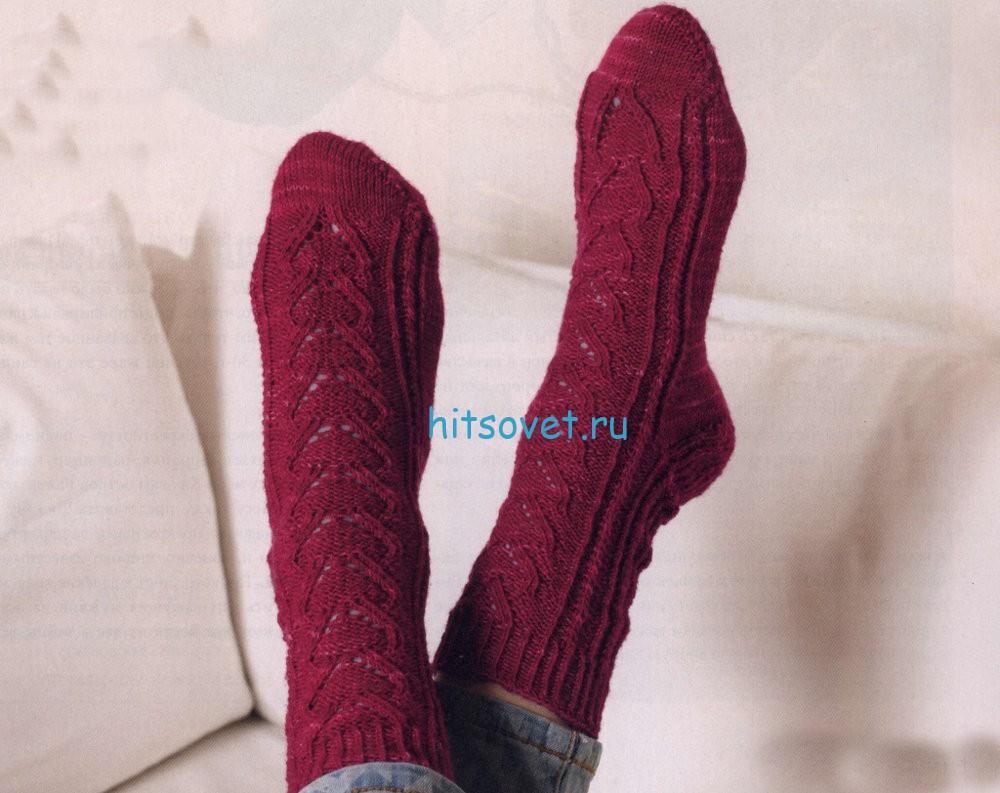 Вязание ажурных носков