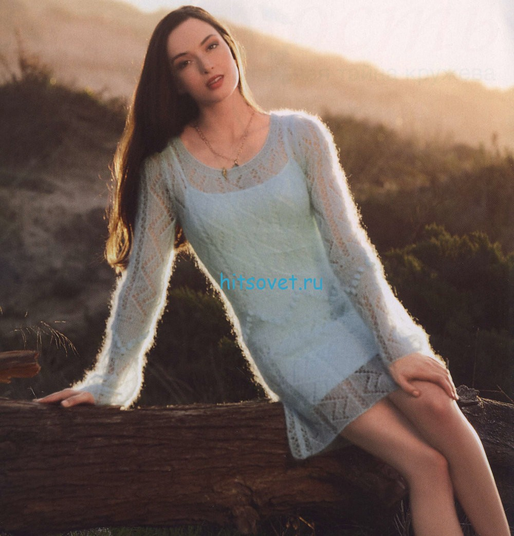 Полупрозрачное мини платье спицами