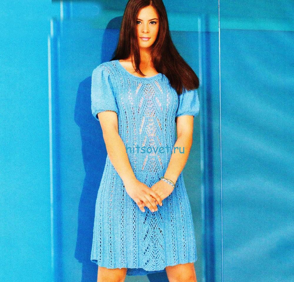 Вязаное бирюзовое платье
