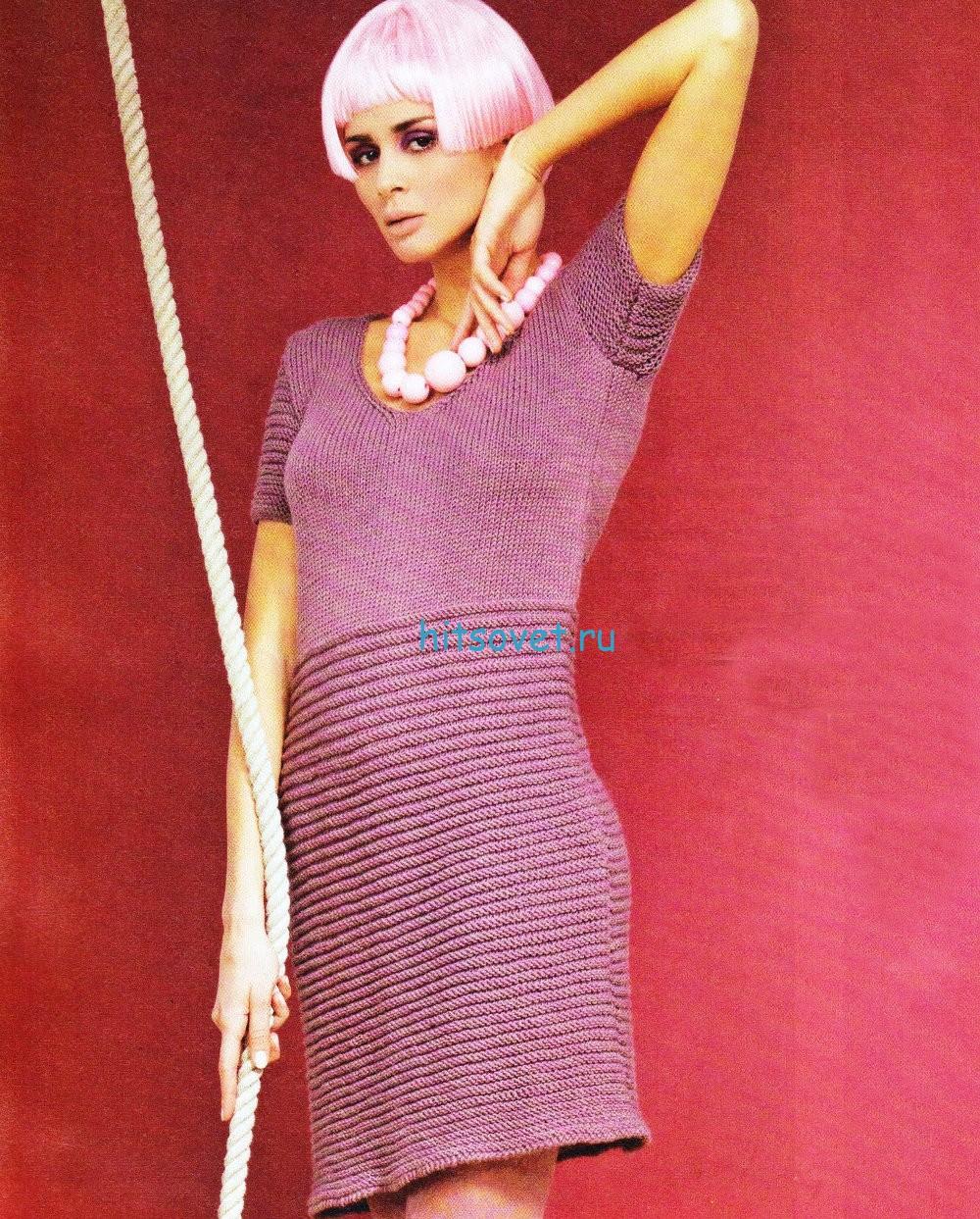 Вязание платья с коротким рукавом