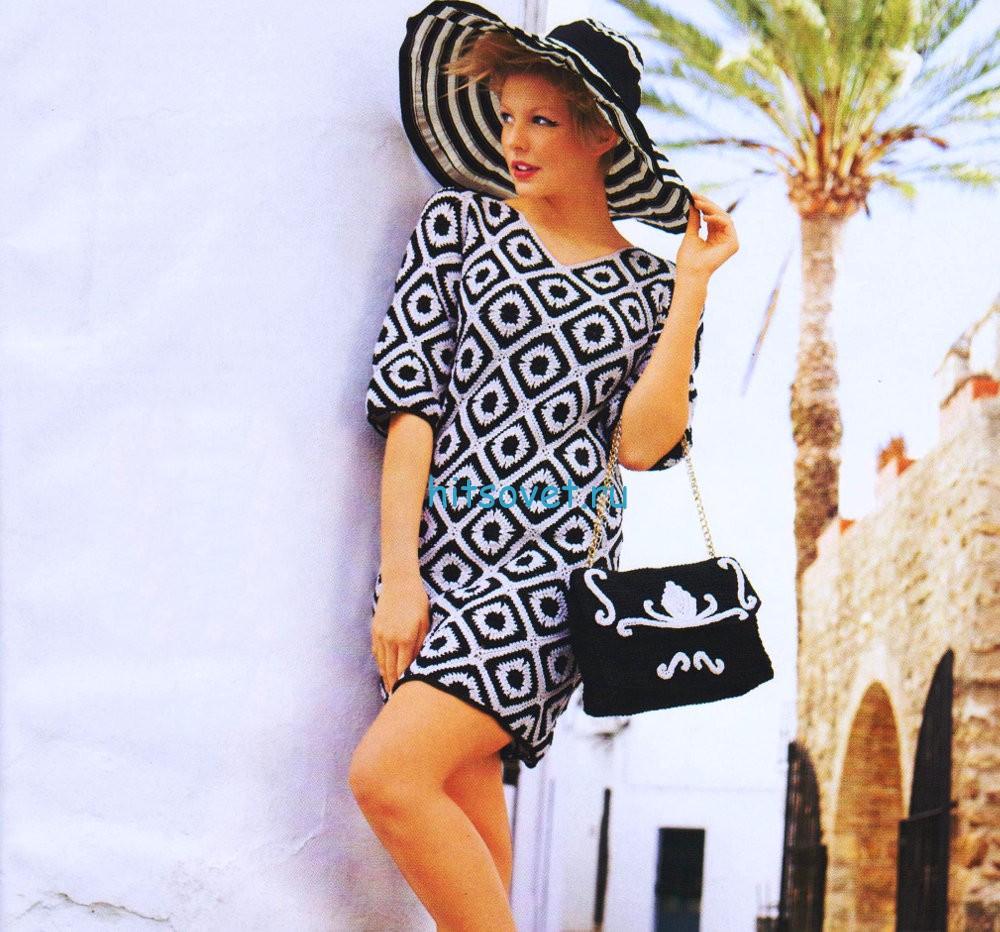 Вязание платье и сумочки крючком